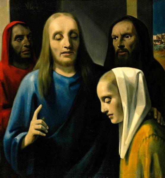 Христос и грешница. Хан ван Мегерен (1889 — 1947). Куплена Германом Герингом под видом картины Яна Вермеера.