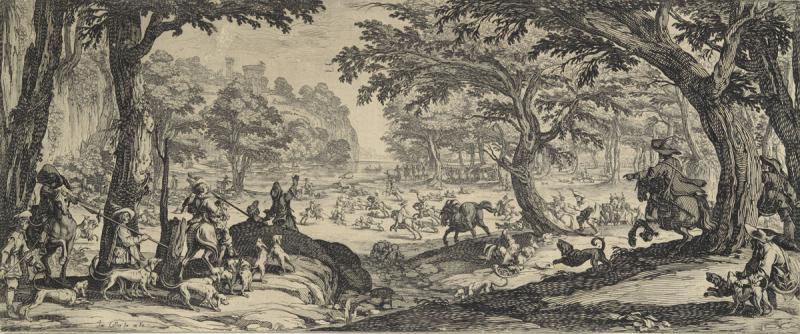 Большая охота. Жак Калло. 1619. Офорт. 195х471мм.