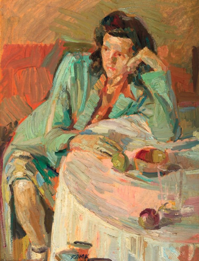 Г. Глюк. Женщина в ресторане. 1947. Х., м. 60×45см. Montefiore, июль 2011 — $2760
