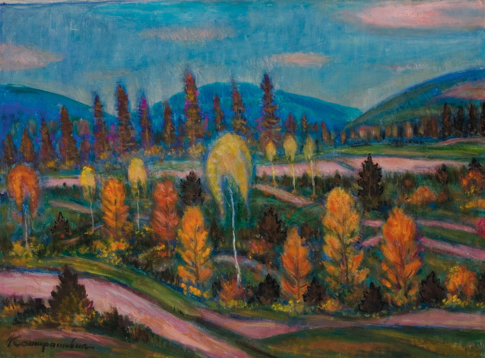 Э. Контратович. Горный пейзаж. Х., м. 64×84см. «Эпоха», май 2008 — $2500