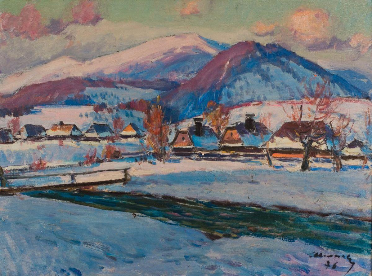 З. Шолтес. Зимний пейзаж. 1976. Х., м. 55×74см. «Эпоха», май 2008 (стартовая цена $8000)