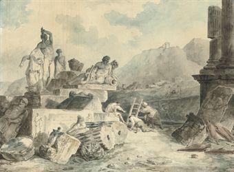 Г.Робер. Открыватели древностей. 1793. Бум., уголь, акварель.