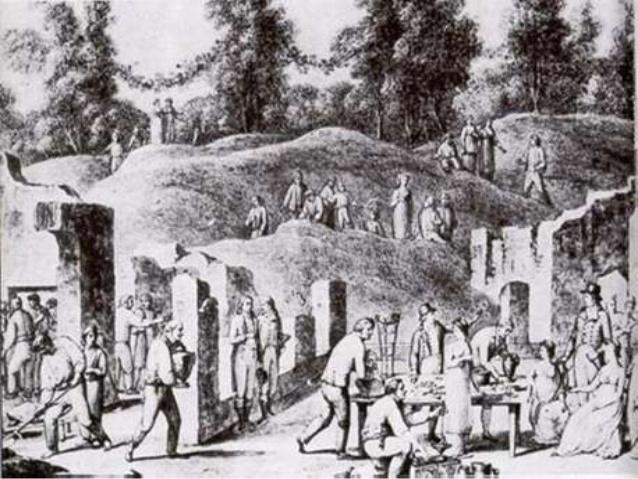 Королева Мария Каролина на раскопках Помпей. Гравюра нач. 19 в.