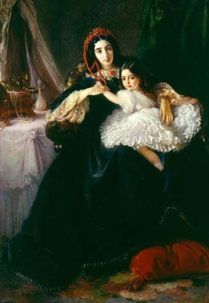 К.Маковський. Портрет графині Ржевуської з дочкою.