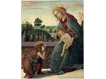Сандро Боттичелли. Богоматерь с младенцем Христом и святым Иоанном Крестителем.