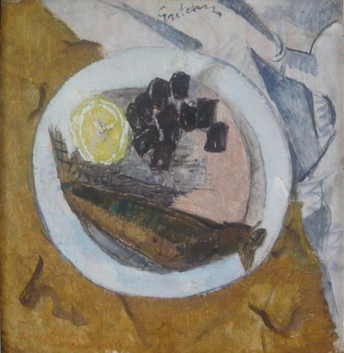 Селедка с лммоном. 1921. Картон, гуашь.