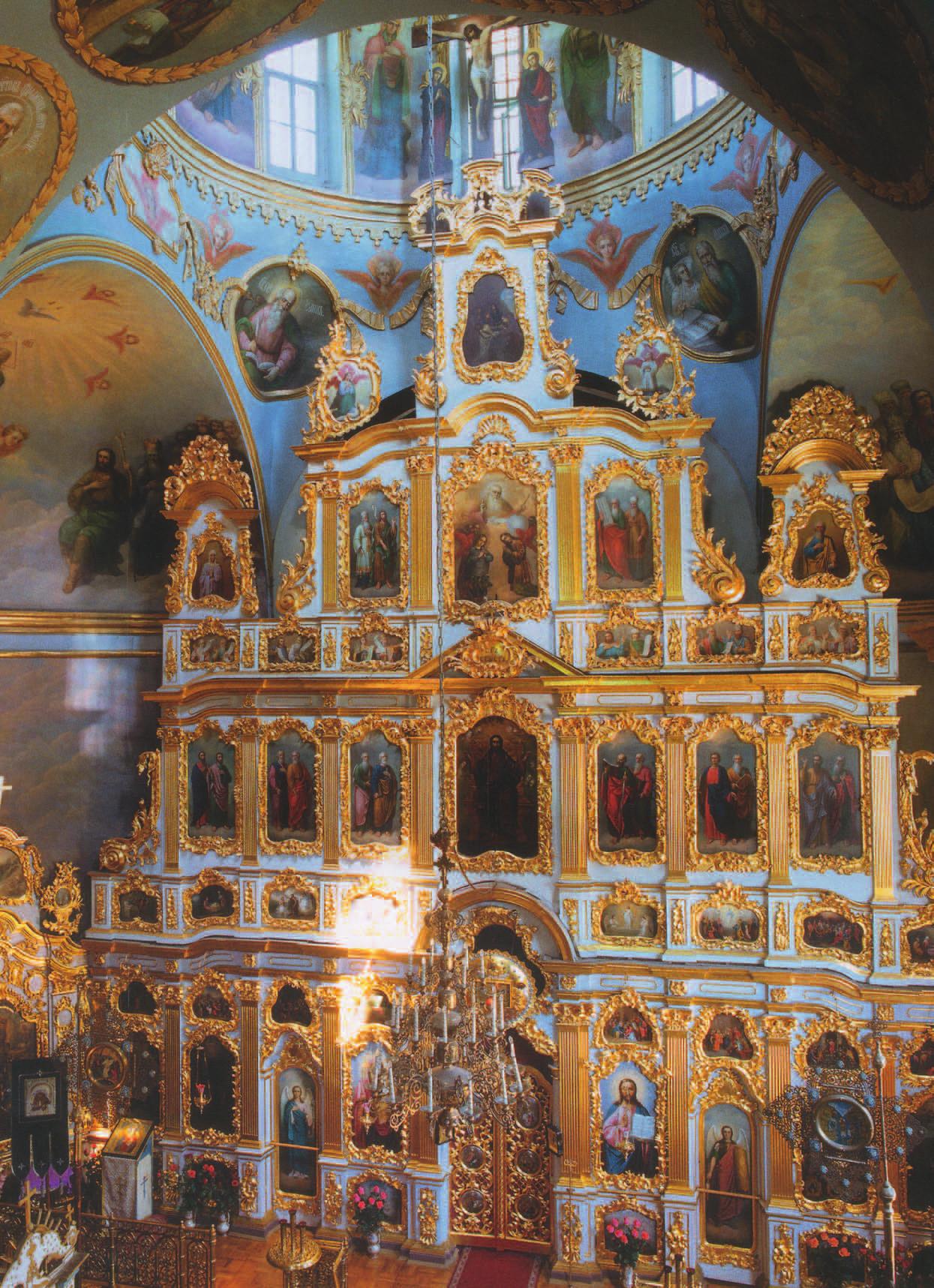 Иконостас Крестовоздвиженской церкви (1767)—апофеоз мастерства киевского «сныцарского цеха» и Лаврской иконописной школы.