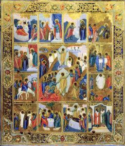 Икона «Воскресение Христово с праздниками». Нач. XX в.