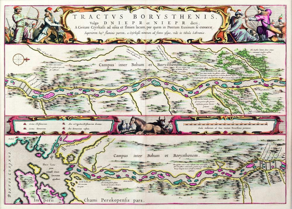 Карта нижнего течения Днепра «Tractus Borysthenis», напечатанная в Амстердаме в 1662 г.