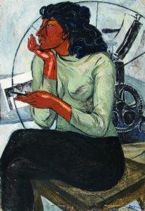 З. Лерман. Портрет художницы Агаевой. 1960-е гг. Б. на фанере, м. 103×75см