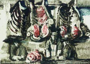 В. Гукайло. Из цикла «Мясной ряд». 1986. Монотипия. Лист ІІІ. 50,5×70,5см