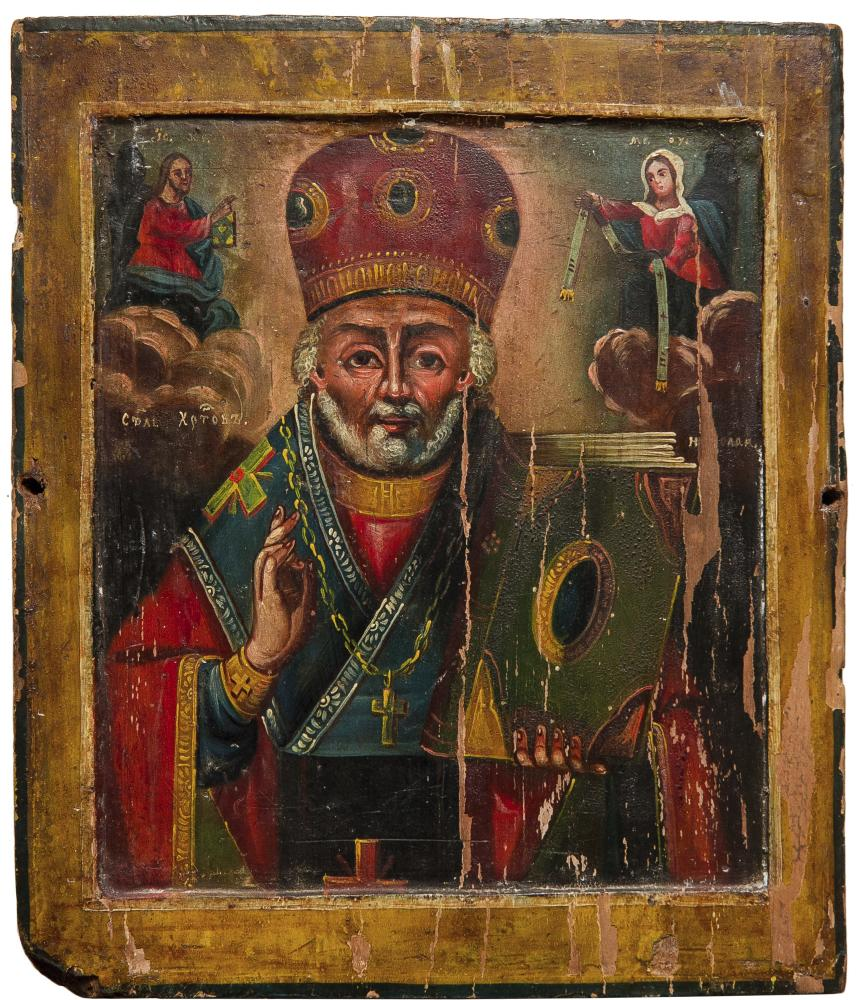 Николай Чудотворец. Левобережная Украина, XIX в. Дерево, левкас, масло