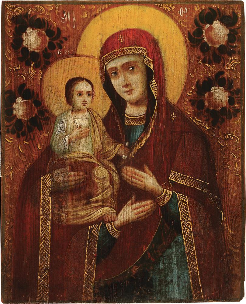 Богородица Троеручица. Черниговщина, XIX в. Дерево, масло