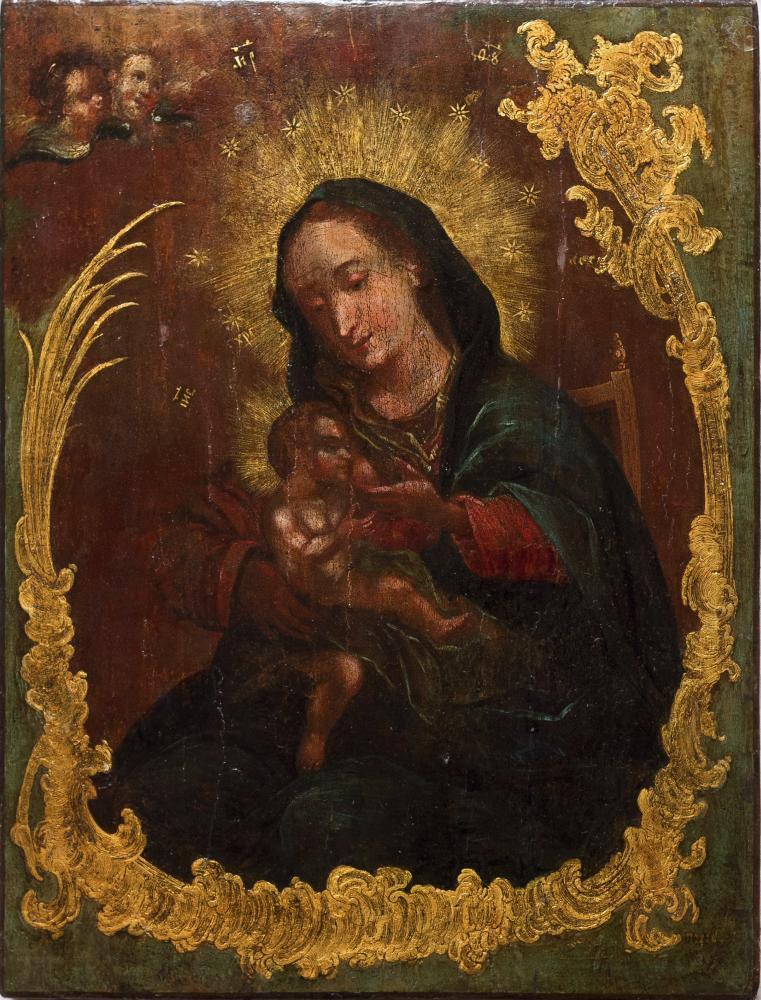 Богородица Млекопитательница. Черниговщина, XVIII в. Дерево, масло
