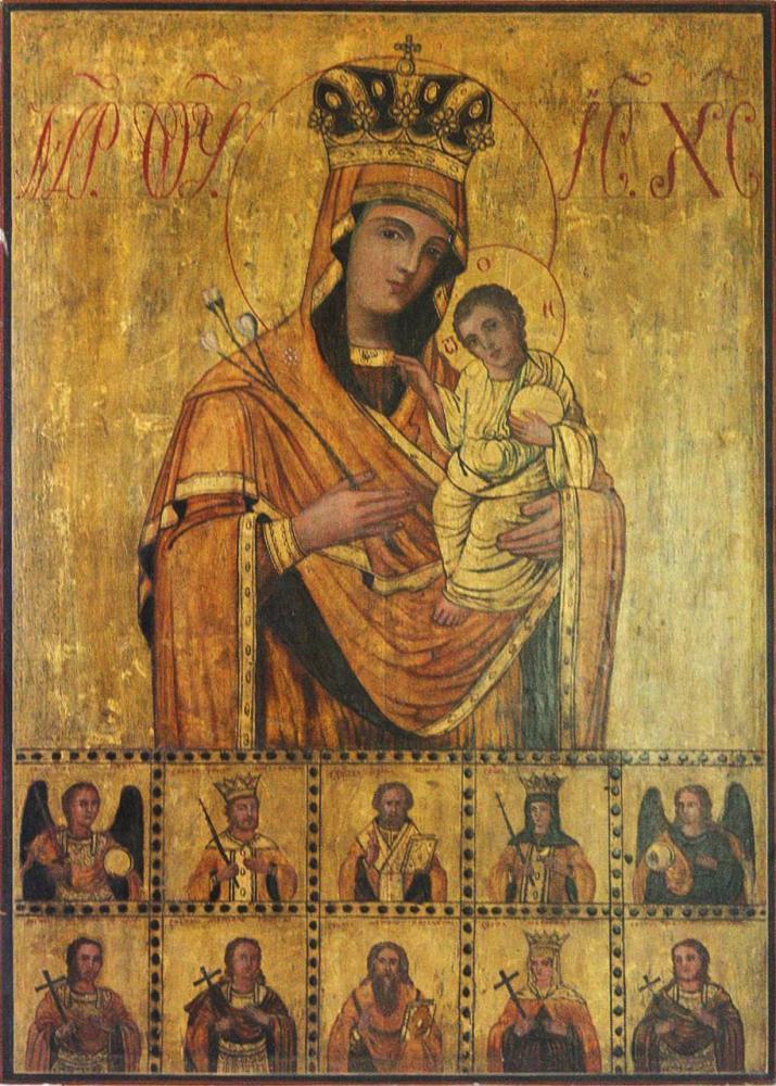 Богородица Неувядаемый цвет. XIX в. Дерево, левкас, темпера, сусальное золото
