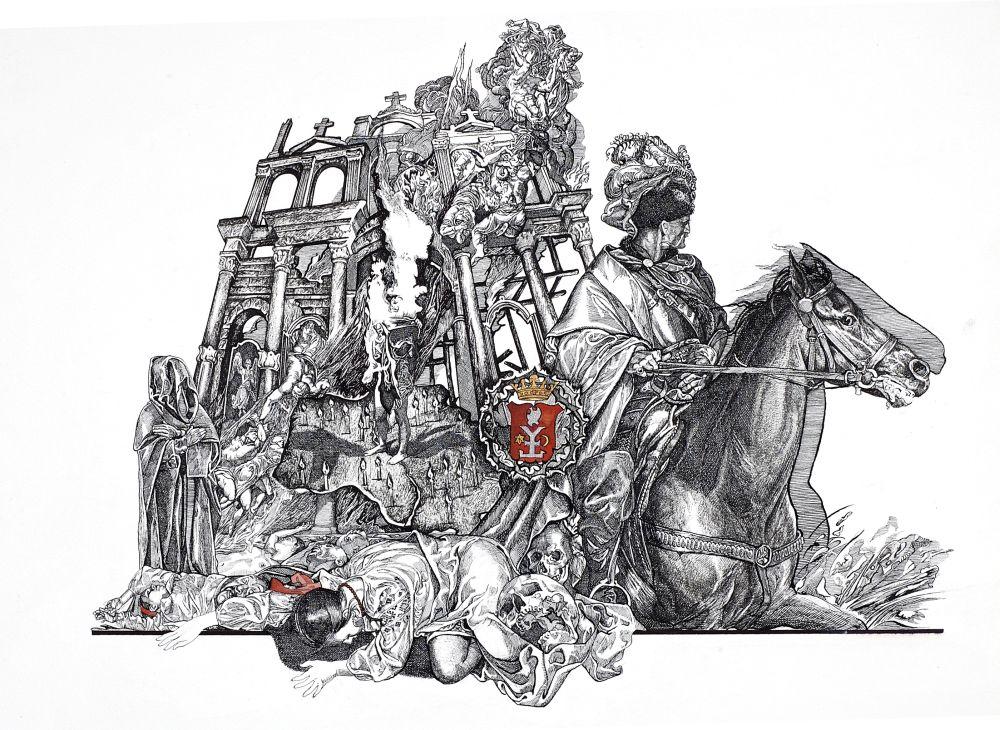 Руина (из серии «Мазепиана»). 2002. Тушь, перо. 50×70см