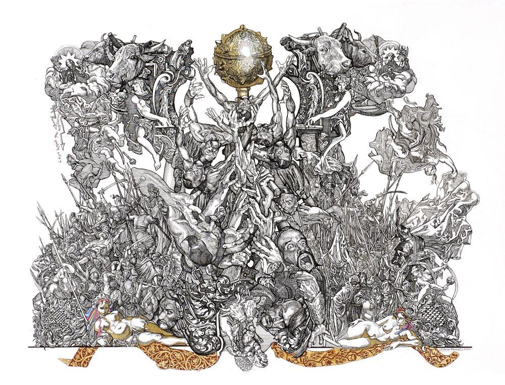 Выборы (из серии «Мазепиана»). Тушь, перо. 50×70см