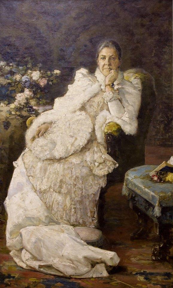Портрет Эмилии Львовны Праховой. Х., м. 200 × 125 см. Собрание И. Понамарчука