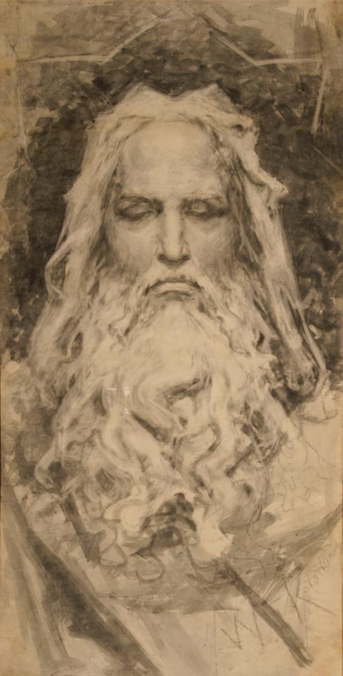 Бог-Творец. Эскиз росписи «Господь, почивший от дел своих». Б., смешанная техника. 137 × 70 см. Собрание И. Понамарчука