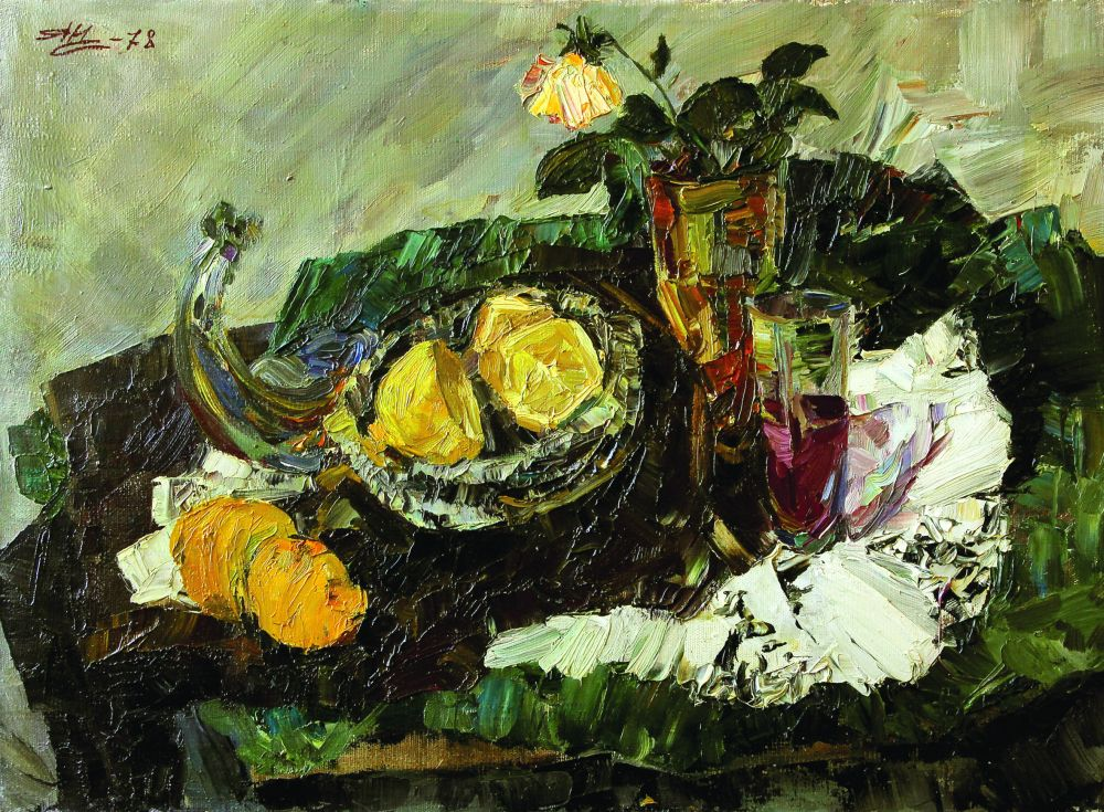 Натюрморт с лимонами. 1978. Х., м. 50×70см