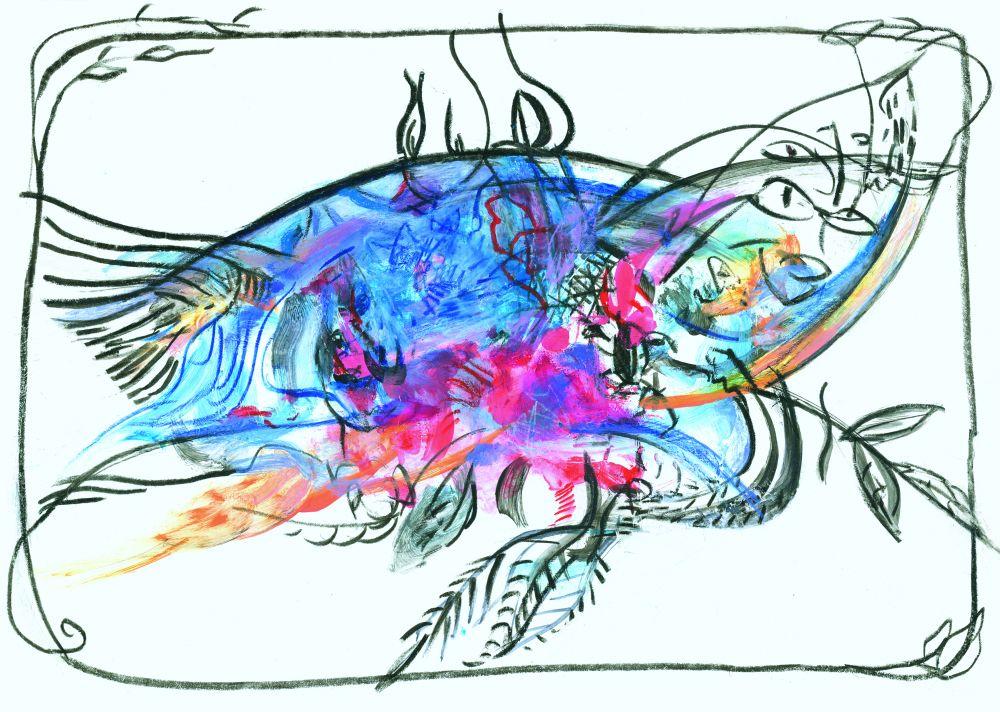 Графический мотив. Вариант «Four sides». 2011. К., акрил. 21×30см