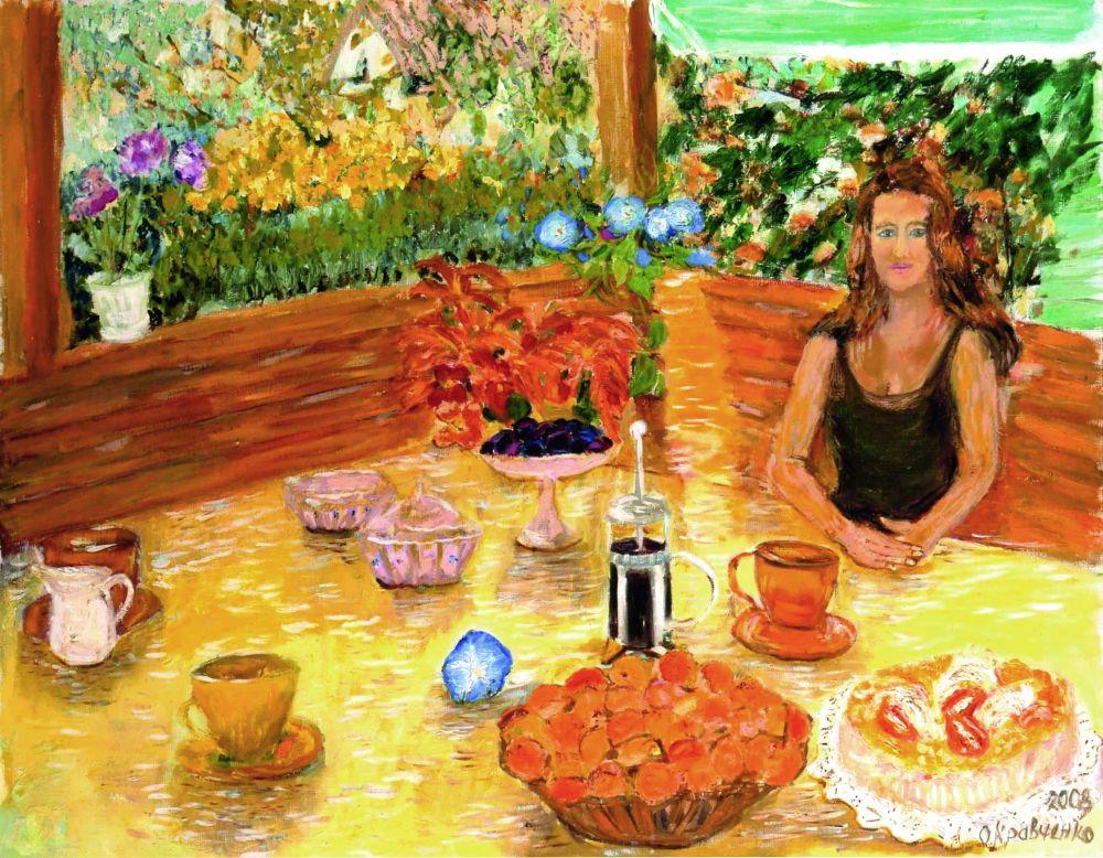 Десерт в альтанке. 2008. Х., м. 70×90см