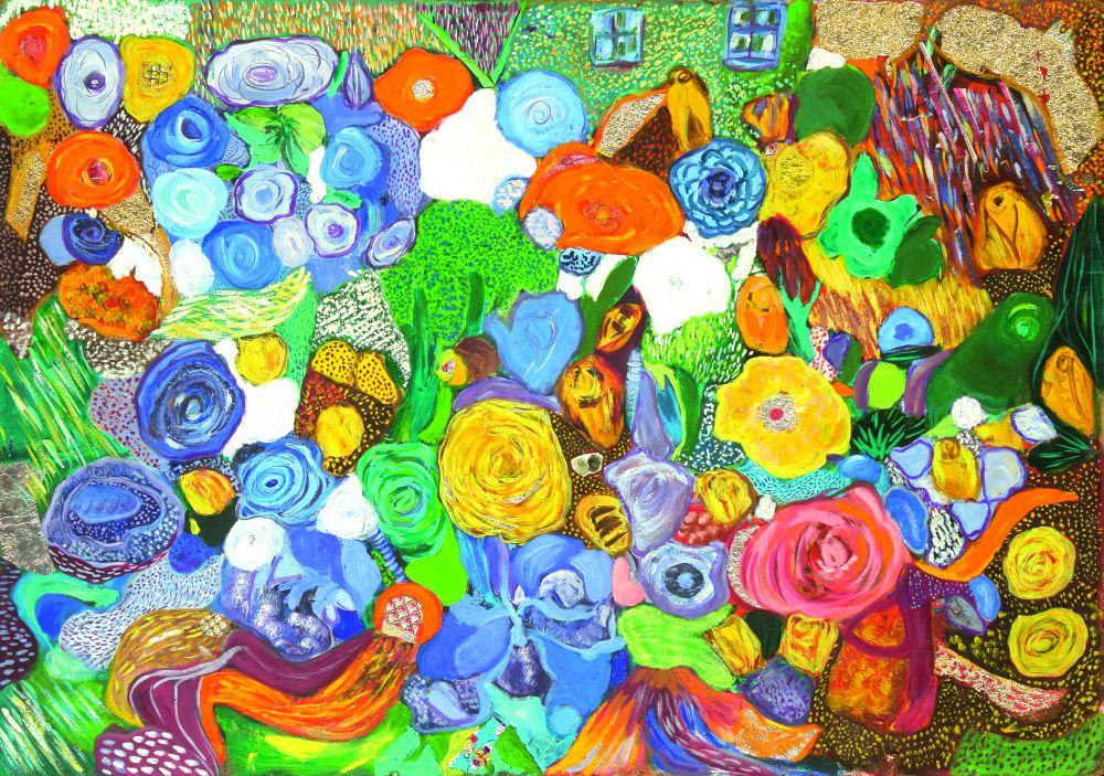 Мои цветы. 1996. К., м. 70×100см