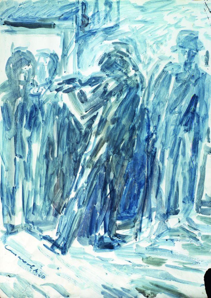 Уличный скрипач. Изсерии «Лондонская богема 50‑х». 1980