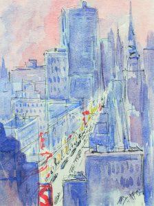 Нью-Йорк. 1955. Б., акв. 28×21см. Собрание Музея украинской диаспоры, Киев