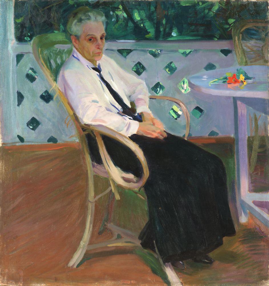 Портрет художницы Е.Е.Иваницкой. 1914. Х., м. 120×113см. НХМУ