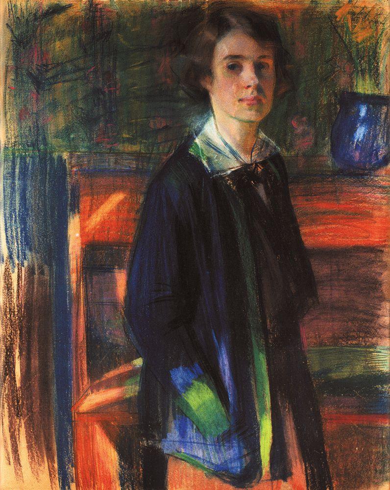 Портрет художницы Л.Н.Ковалевской-Рик. 1914. К., пастель. 95×77см. НХМУ