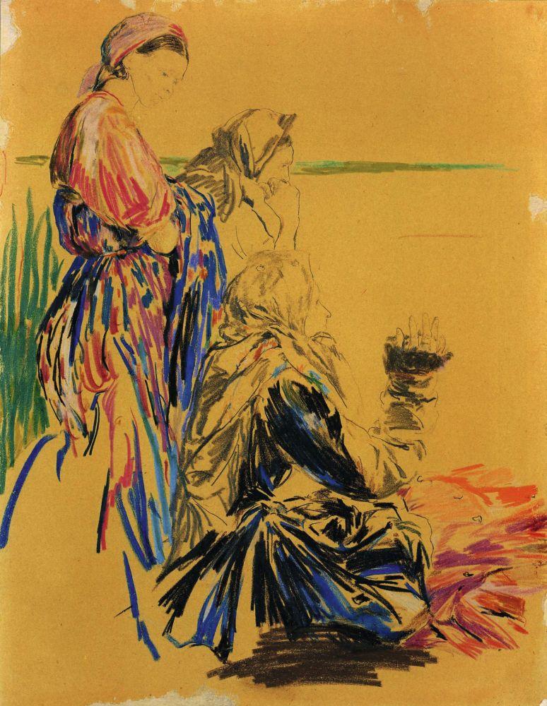 Ф.А.Малявин(1869–1940). Три бабы надрекой. Б. нак., граф. ицв. карандаши. 40×31см. КНМРИ (изколлекции Д.Л.Сигалова)