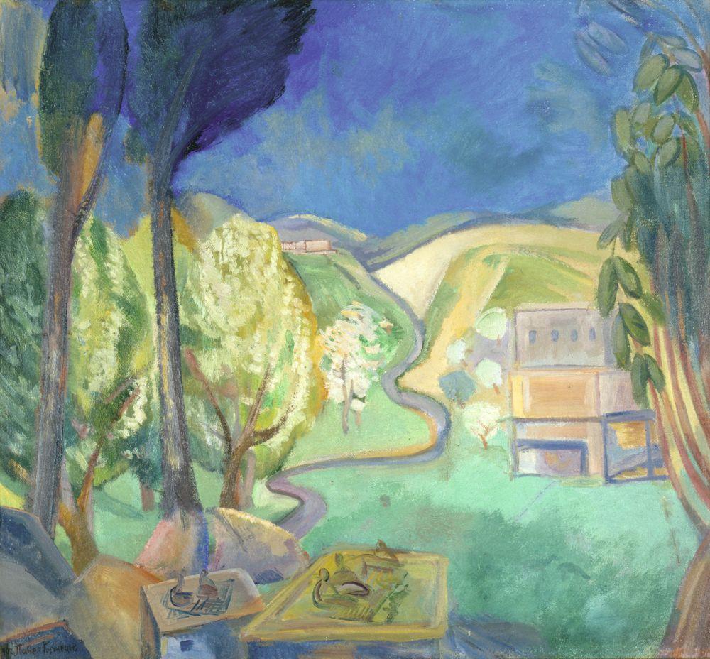 П.В.Кузнецов(1878–1968). Яблони вцвету. 1909–1912. Х., м. 66×72см. КНМРИ (изколлекции Д.Л.Сигалова)