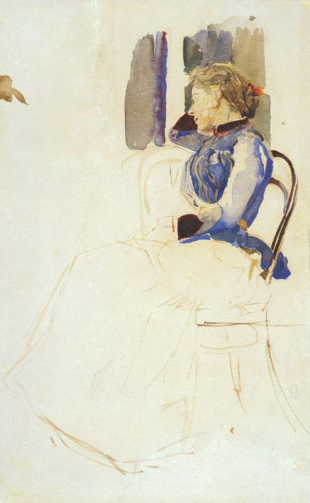 М.А.Врубель(1856–1910). Портрет Е. К. Мурашко. 1884. Б., акв., лак. 22,7×14 см.  КНМРИ (изколлекции Д.Л.Сигалова)