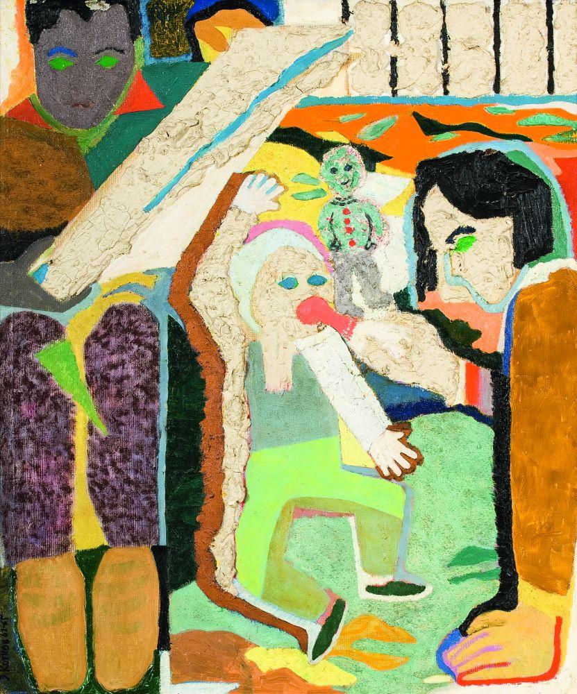 Э.Котков. Бабушка свнуком. 1962. Х., м. 91×76,5см