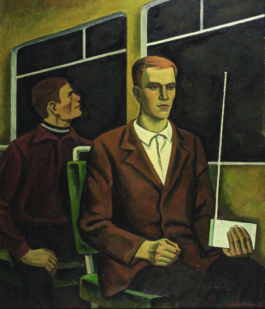 О.Ержиковский. Человек сприёмником. 1969. Х., м. 150×125см