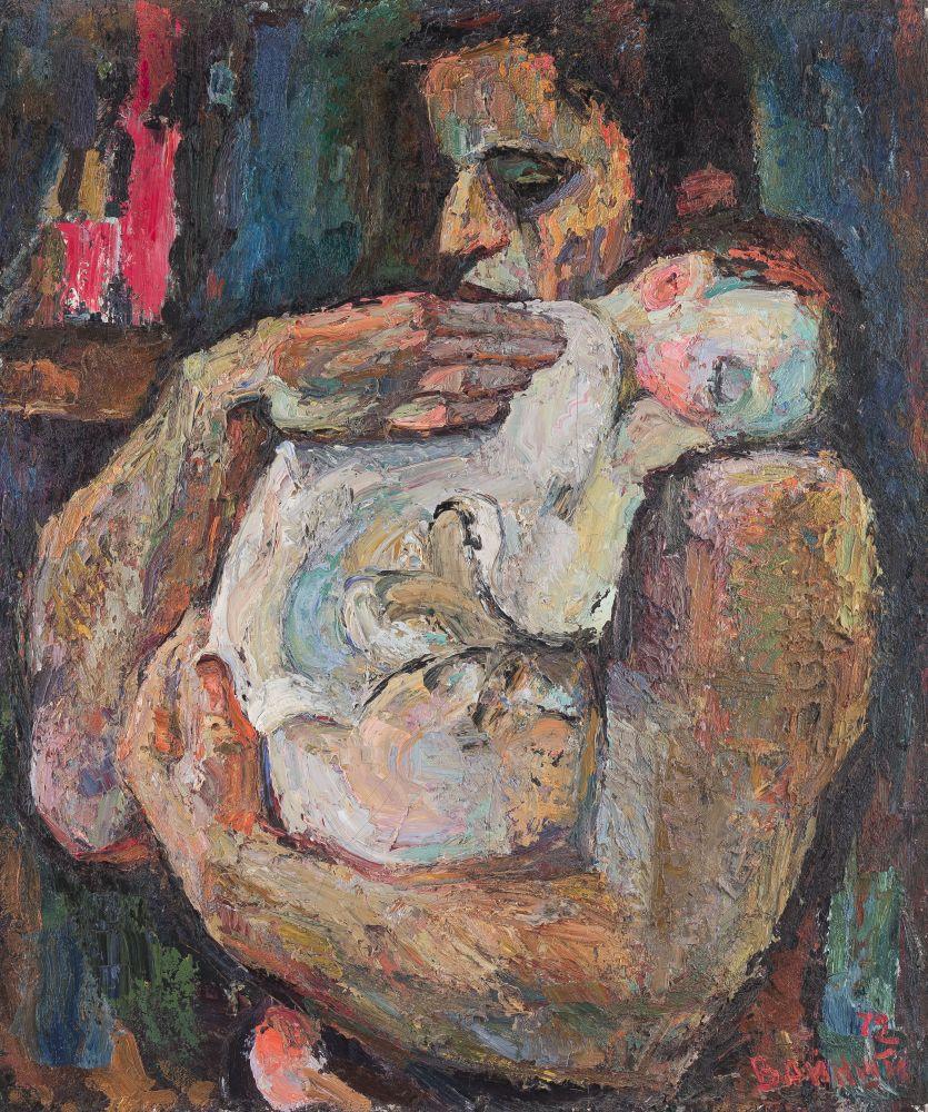 М.Вайнштейн. Автопортрет ссыном. 1972. Х., м. 95×80см