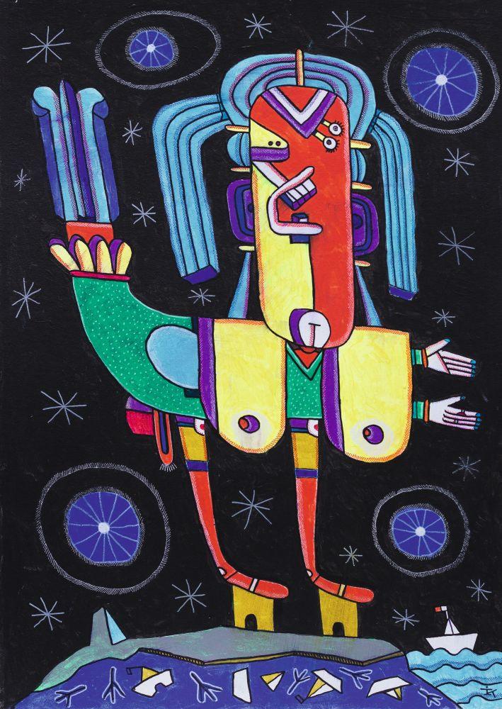 Сирена. 2016. Картон, акрил. 70×50см. Коллекция галереи «Яна»