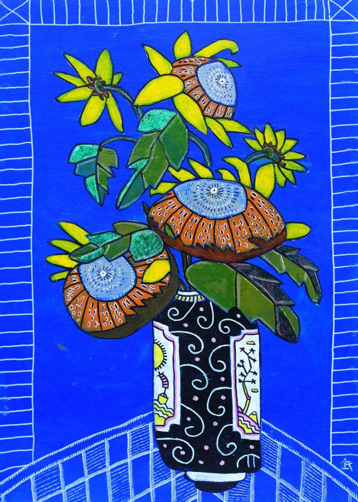 Подсолнухи. 2016. Холст накартоне, акрил. 70×50см. Коллекция галереи «Яна»