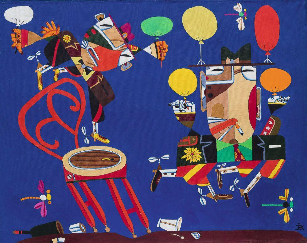 Первый полёт братьев Райт. 1985. Х., м. 80×100см. Коллекция галереи «Яна»