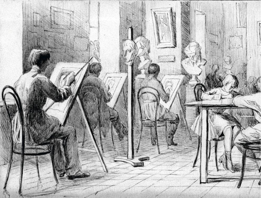 Н.Пимоненко. Уголок нашей рисовальной школы. 1885. Архив НХМУ