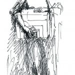 Рисунок из серии «Король Лир», созданной после работы над одноимённым спектаклем в московском Малом театре (реж. Л. Хейфец). 1980-е гг. Бумага, шариковая ручка