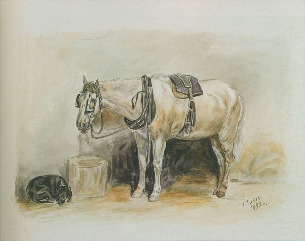 А.Крюгер-Прахова (ученица КРШ в 1890-x гг.). Конь и собачка. 1892. Частное собрание