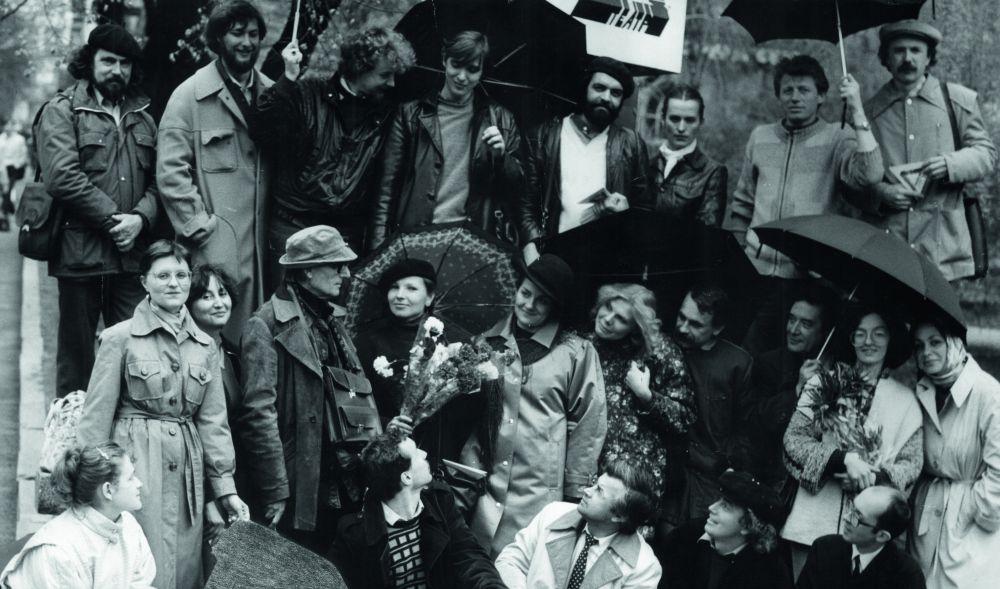 Д. Лидер с учениками и коллегами. 1980-е гг. Фото из архива В. Карашевского