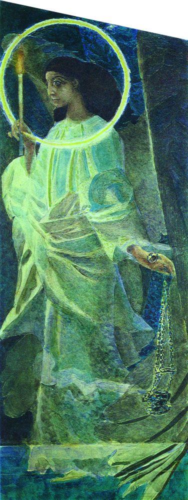 М.Врубель. Ангел с кадилом и свечой. 1887. Находилась в собрании КРШ (ныне — в КНМРИ)