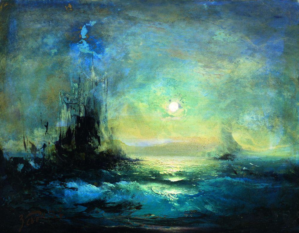 Драматическая морская композиция. Оргалит, смеш. техника. 37,5×47,5 см. Частное собрание