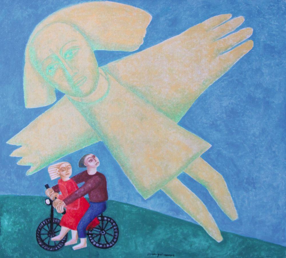Прогулка на велосипеде. 2012. Б., акварель. 90×100 см