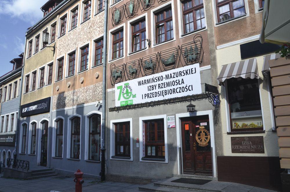 Декорированный фасад Варминско-Мазурской палаты ремёсел ипредпринимательства