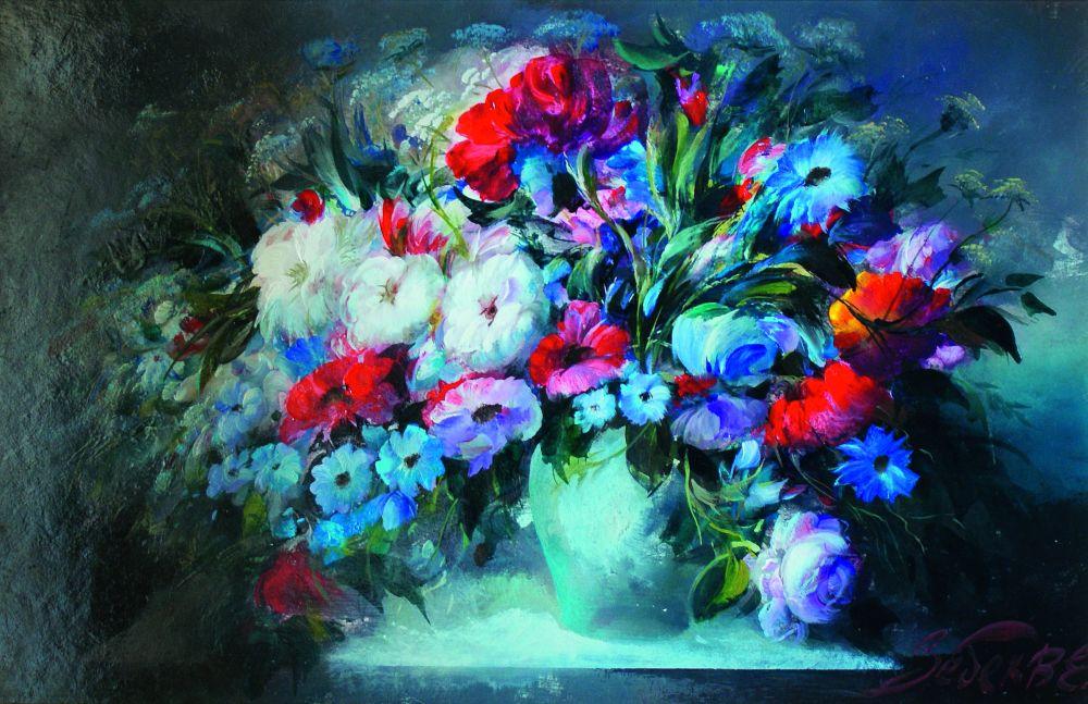 Великолепие цветов в ночном освещении. Оргалит, смеш. техника. 46,3×70,2 см. Частное собрание