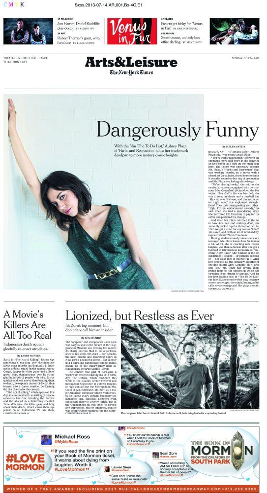Титульная страница блока «Искусство и досуг» воскресного выпуска The New York Times
